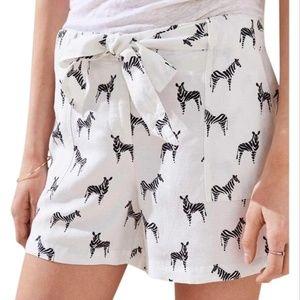 Loft Linen/Viscose Tie Waist Zebra Print Shorts